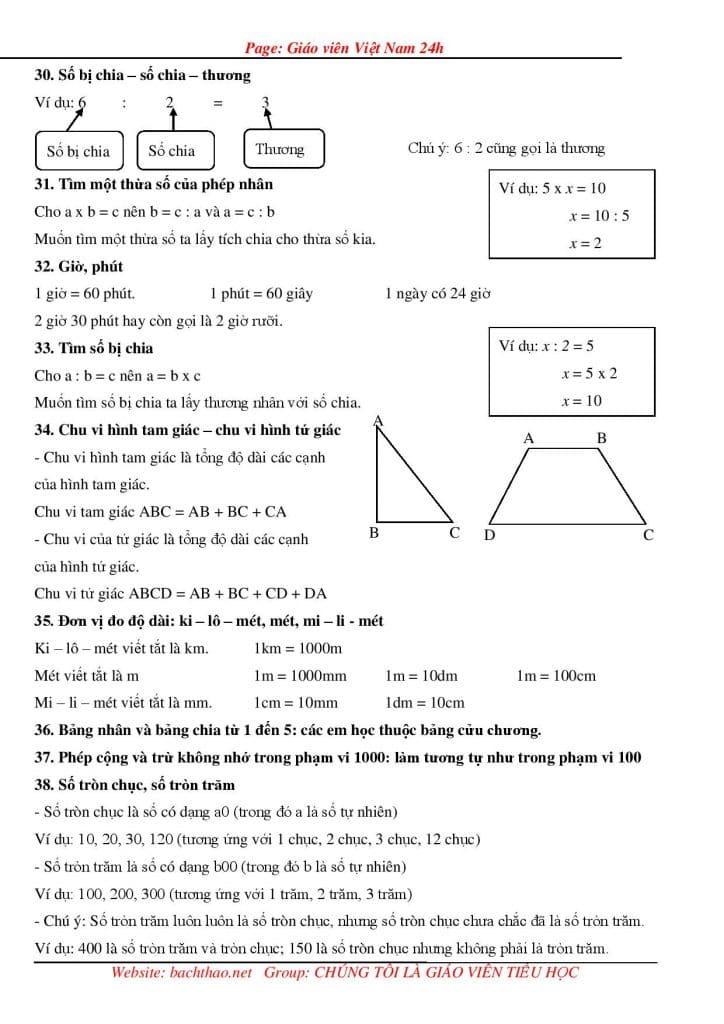 Ảnh chụp từ tài liệu kiến thức toán lớp 2